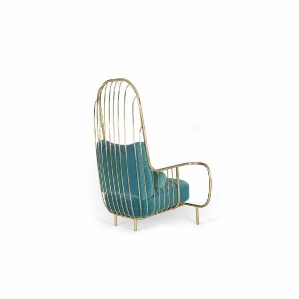 High back arm chair