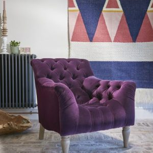 Plum velvet fabric Arm Chair