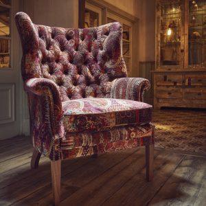 Velvet feather seat armchair