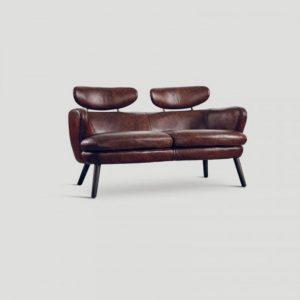 Leather Sofa with Headrest