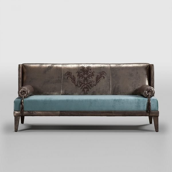 metallic leather sofa